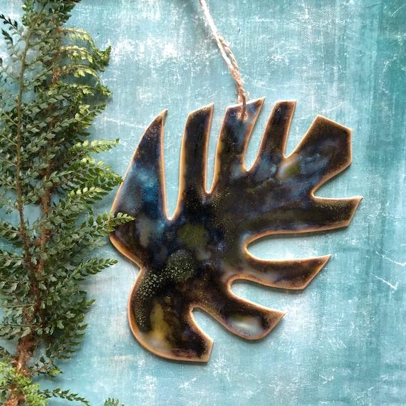 Handmade ceramic monstera leaf stoneware Danish design