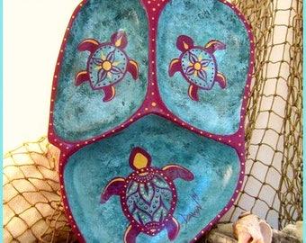 Fancy Tribal Turtles Wood Tray, Handpainted, *teal, aqua, berry wine, metallic gold* #1717