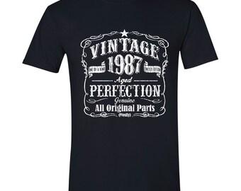 30th Birthday, 1987 Birthday, Crew Neck, 30th Birthday Idea, 30th Birthday Present, or Birthday Gift. 1987 Birthday, 1987 Shirt BLACK