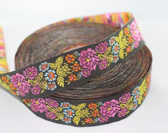35 mm colorful Floral Embroidered ribbon (1.37 inches), Vintage Jacquard, Floral ribbon, Sewing trim, Jacquard trim, Jacquard ribbon, 35097