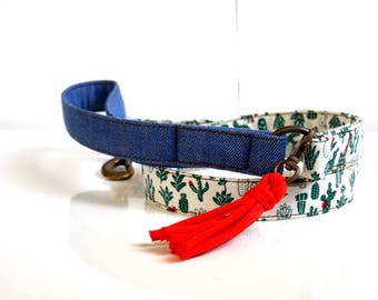 BOHO Cactus Tassel Charm Dog Leash - Antique Brass, Denim Handle