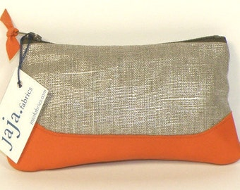 Coin purse LOUISE ANNA shiny linen and orange leather