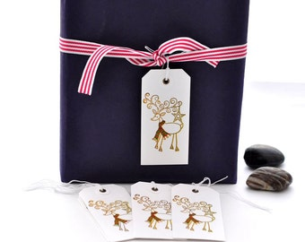 Set of 10  Christmas Reindeer Tags | Holiday Gift Tag | Hand Stamped Holiday Tags | TC102