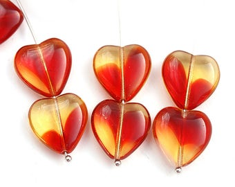15mm Red Amber Yellow Heart beads, Mixed Red heart czech glass pressed beads, 10Pc - 3023