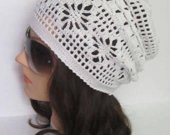 Women Summer Slouchy Beanie Women Sun Hat Slouchy Summer Hat Women Slouchy Beanie, White Summer Slouchy Hat for women Women Spring Hats