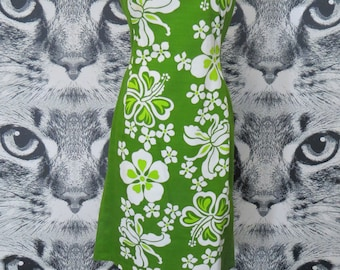 60s Green and White Cotton Aloha Dress by Hawaiian Togs / M / L