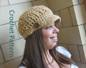 The Ingrid Cap Easy Crochet Hat PATTERN Brim Visor GIFT