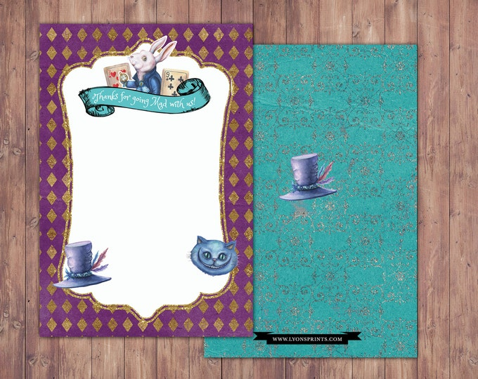 Thank you card / Mad Hatter Tea Party, Alice in Wonderland Invitation /  Birthday Invitation/ tea party/ wonderland/mad hatter