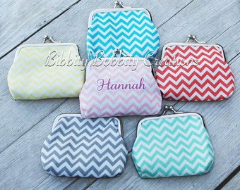 Monogrammed/ Personalized Chevron Coin Purse, Change Purse