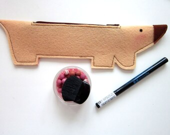 Sewing pattern pencil case, pencil case PDF pattern, felt pencil case, dachshund pencil case, Instant Download sewing pattern, DIY