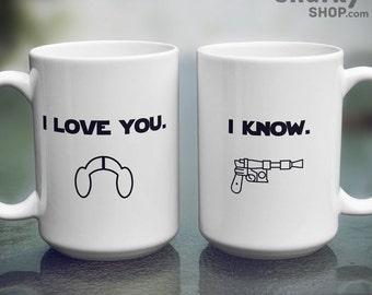 Star Wars I Love You, I Know DOUBLE MUG SET, Two 15oz Mugs