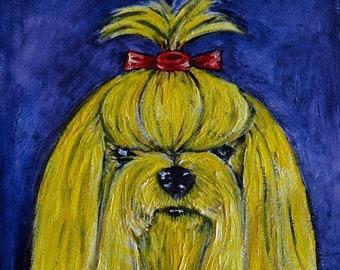 25% off Yorkie yellow yorkshire terrier dog art artwork tile coaster gift