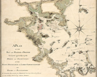 1775 Nautical Chart of Boston Harbor