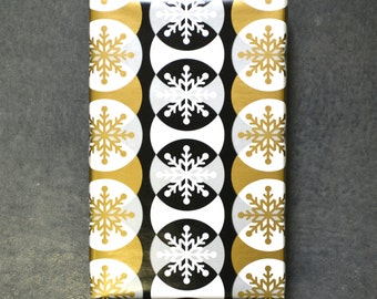 Gold and Black Snowflakes Holiday Wrapping Paper, 2 Feet x 10 Feet - Golden Holiday Collection