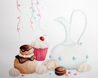 "Exemplary unique and original watercolor illustration ""cakes, macaroons, puffs, meringue"" painted in Provence, France, watecolor"