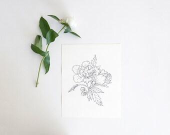 Rose Floral Illustration // Rose Drawing Art Print // Rose Of Sharon Illustration // Poppi Paper Co