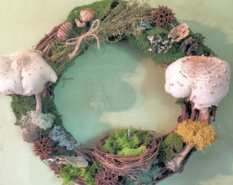 Primitive Rustic Dried Mushroom Wreath,Dried Mushroom Wildwood Wreath,Fungi Lichen Forest Decorative Wreath,Magic Foraged Fairy Nest Wreath