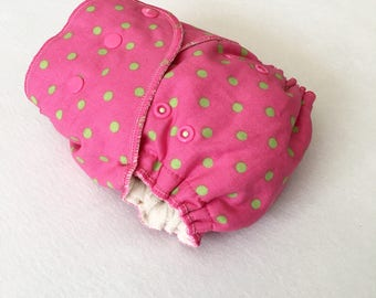 One Size Fitted Hybrid Cloth Diaper Lime Green Dots on Hot Pink 80s New Wave Retro Style