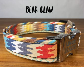 Bear Claw Dog Collar  Personalized Pet ID on Buckle Adjustable Collar You Pick Size Small Medium Large Extra Large Funky Mutt Collars