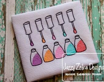 Nail Polish Sketch Embroidery Design - girl Sketch Embroidery Design - makeup Sketch Embroidery Design