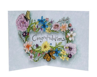 3D Pop Up Card - Flowery Congratulations