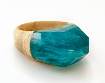 Resin and Wood Ring, Turquoise Ecopoxy Resin Ring, Wood Epoxy Jewelry, Wood Rings for Women, Gypsy Ring, Boho Rings for Women