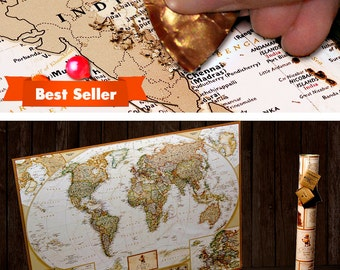 Scratchable Map -  Travel Map; Detailed Large Scratch Off Map; US Divided Into States; World Map Poster; Vibrant Colours; Scratch-off Map;