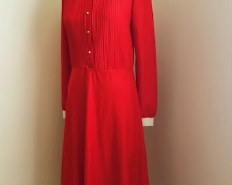 1980s Cherry Red Button Up Dress