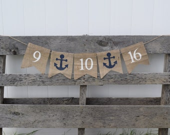 Save the Date Banner- Nautical Wedding Banner- Engagement- Engagement Party- Bridal Shower Banner- Wedding Photo Prop- Anchors