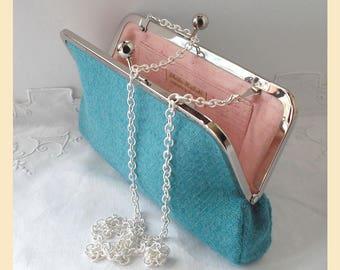 Harris Tweed shoulder bag, pale teal clutch bag, light green tweed purse, handbag with pink silk lining, optional personalisation
