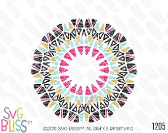 Mandala SVG, Hand drawn Art, Wreath, Cute, Monogram Frame, SVG Bliss Original, Cutting File Svg DXF, Cricut & Silhouette Compatible