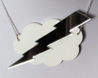 Storm Cloud Thunder Lightning Bolt Statement Necklace