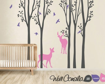 """Baby Nursery Wall Decals - Birch Trees Decal - Tree Wall Decal - Tree Wall Decals - Tree Wall Decal with Deer - Large: 104"""" x 93"""" - KC022"""