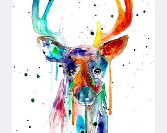 Watercolor Deer Print