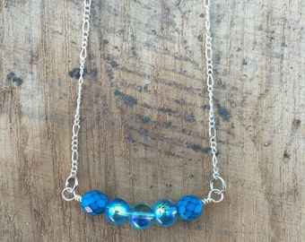 Simple Blue Bead Necklace 16""