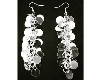 Silver sequined Earrings