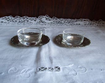 lovely antique Italian lead crystal salt and pepper cellars with silver 800 saucers. Condiment serving small bowl