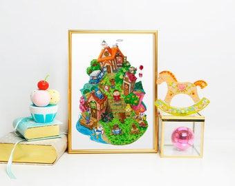 Animal Crossing New Leaf Watercolor Poster Art