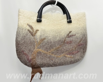 Felted Tote bag Tree Branch