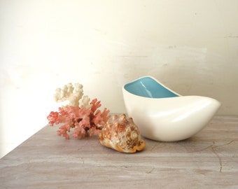 Vintage Modern Abstract Ceramic Vessel in white and sky blue