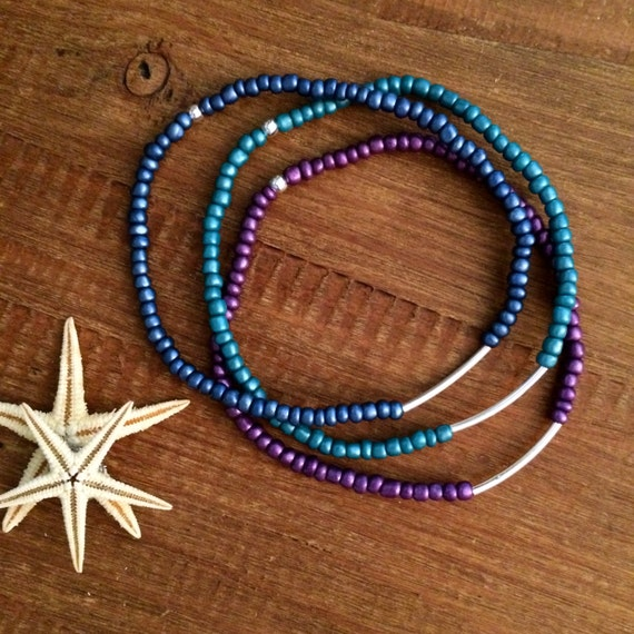 Women's Gift Anklet Stretch Beaded Ankle Bracelet Bridesmaids Gift Arm Band Boho Wedding Party Gifts Custom Beach Blue Teal Purple Anklet