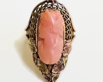 Victorian 14k Gold Carved Coral Cameo Ring With Pearl - Yellow and Rose Gold Leaf Design- Size 4.5 - Pinky Ring - Antique Gift for Her