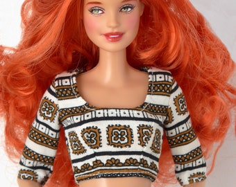 Cropped top with brown details for Poppy Parker / Model Muse, Pivotal, New Silkstone or Made To Move Barbie
