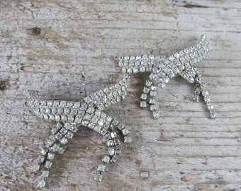 Vintage Rhinestone Shoe Clips- Bridal Shoe Clips Blingy Rhinestones (*one is missing the clip on the back)
