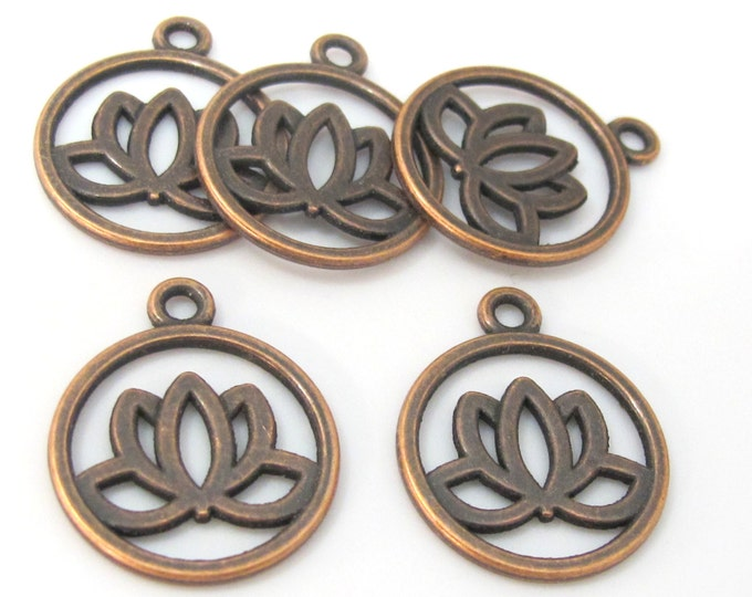 10 charms - Tibetan Lotus flower antiqued copper tone light weight metal charms  - CM161