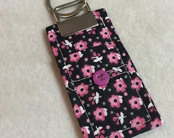 Chapstick Holder - Pink Flowers, White Butterflies (#001.04)