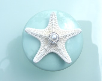 Boutons - mer verre menthe coquillage étoile de mer boutons avec Swarovski Crystal et perle strass