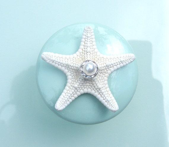 Knobs - Sea glass Mint Seashell Starfish Knobs with Swarovski Crystal and pearl rhinestone