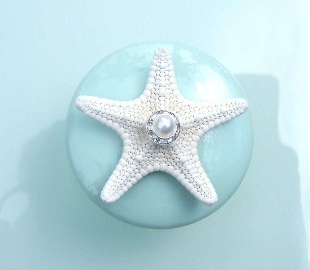 Knobs Sea glass Mint Seashell Starfish Knobs with Swarovski