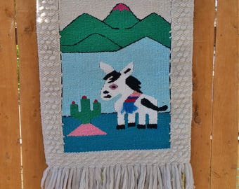 Vintage Donkey Wall Hanging   Woven Wall Hanging